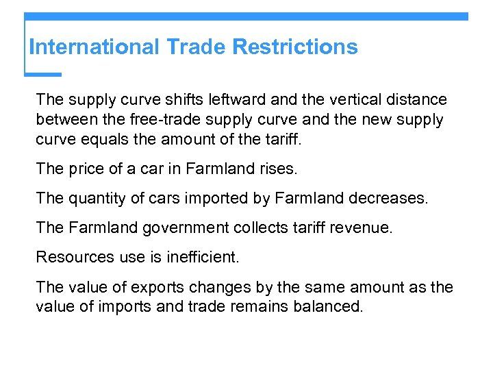 International Trade Restrictions The supply curve shifts leftward and the vertical distance between the