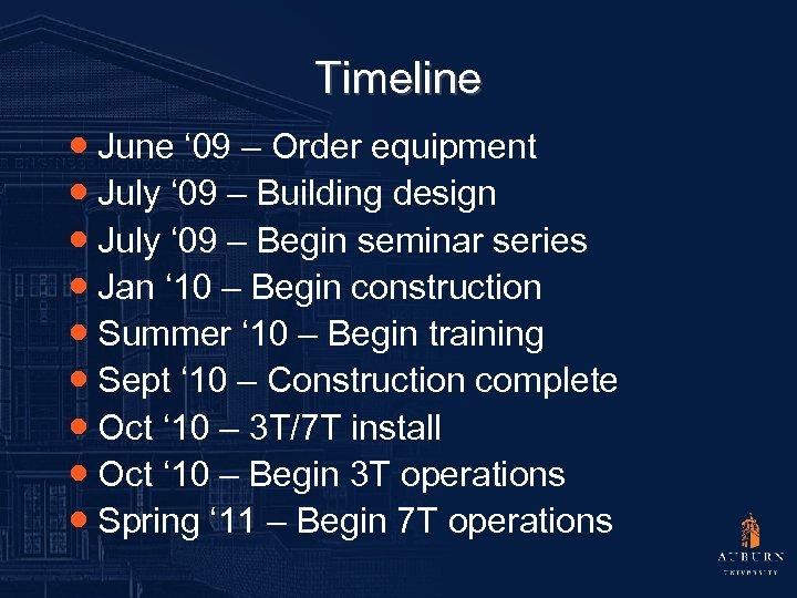 Timeline ● June ' 09 – Order equipment ● July ' 09 – Building