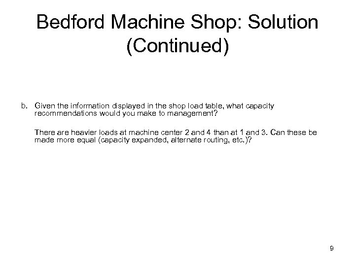 Bedford Machine Shop: Solution (Continued) b. Given the information displayed in the shop load