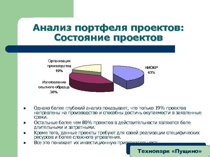 Анализ портфеля проектов: Состояние проектов l l Однако более глубокий анализ показывает, что только