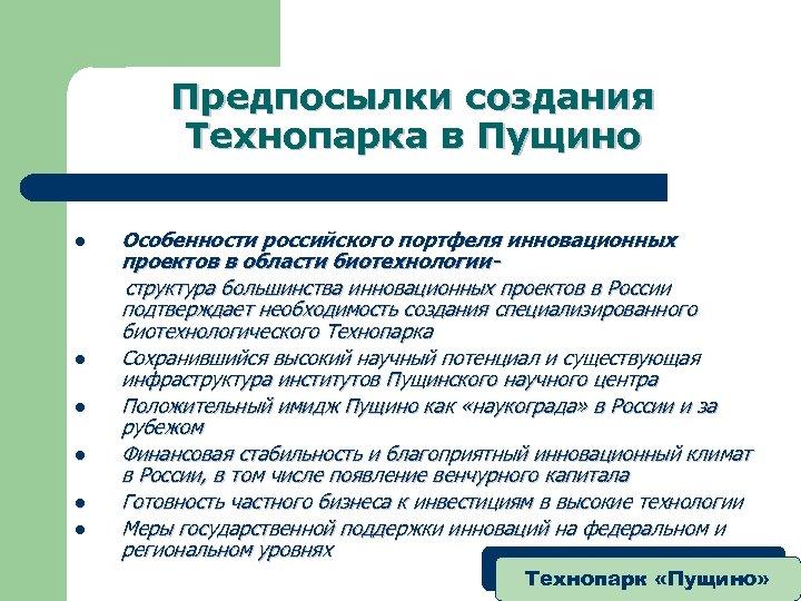Предпосылки создания Технопарка в Пущино l l l Особенности российского портфеля инновационных проектов в
