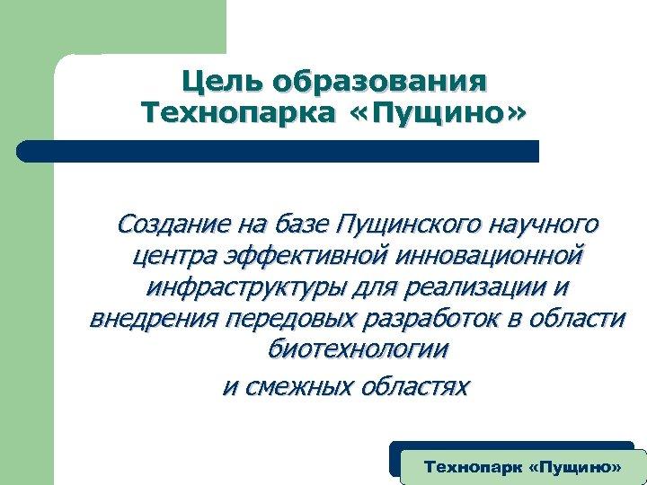 Цель образования Технопарка «Пущино» Создание на базе Пущинского научного центра эффективной инновационной инфраструктуры для