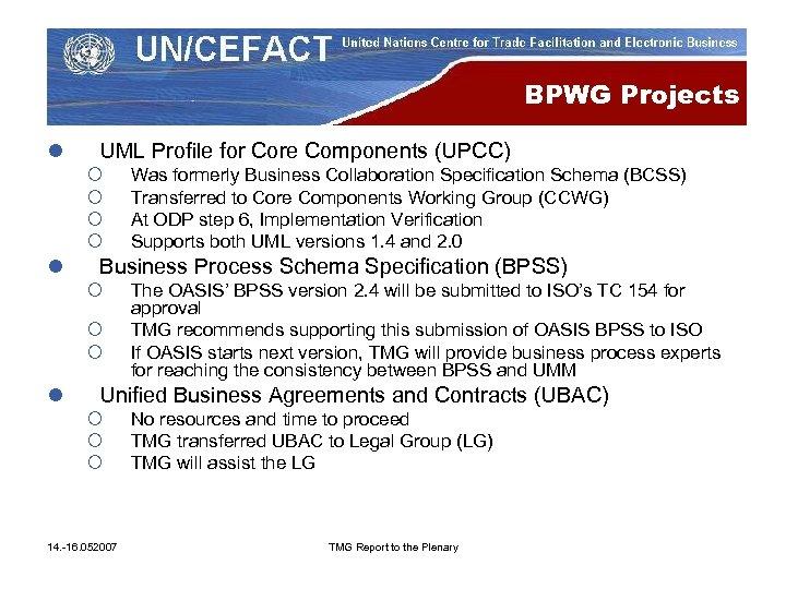 BPWG Projects l UML Profile for Core Components (UPCC) ¡ ¡ l Business Process