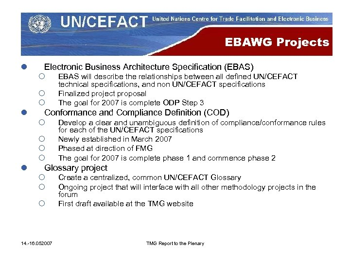 EBAWG Projects l Electronic Business Architecture Specification (EBAS) ¡ ¡ ¡ l Conformance and
