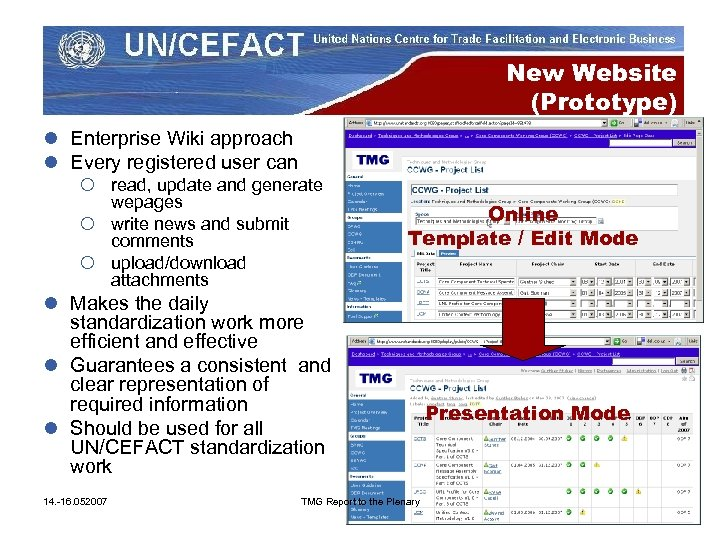 New Website (Prototype) l Enterprise Wiki approach l Every registered user can ¡ read,