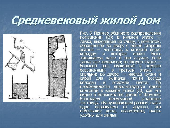 Средневековый жилой дом Рис. 5 Пример обычного распределения помещений (В): в нижнем этаже —