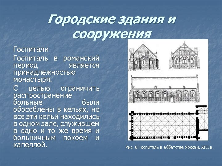 Городские здания и сооружения Госпитали Госпиталь в романский период является принадлежностью монастыря. С целью