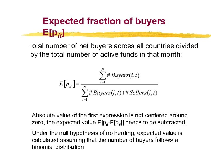 Expected fraction of buyers E[pit] total number of net buyers across all countries divided