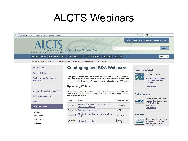 ALCTS Webinars