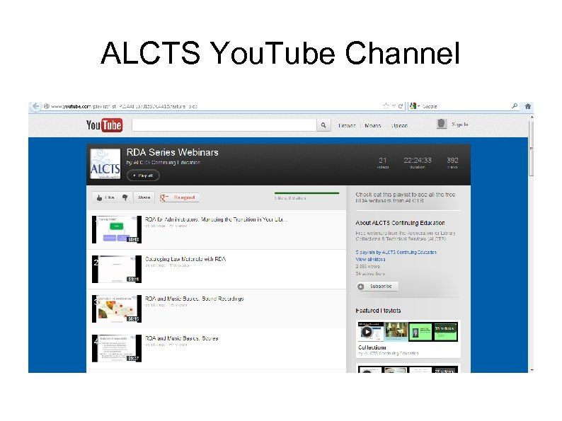 ALCTS You. Tube Channel