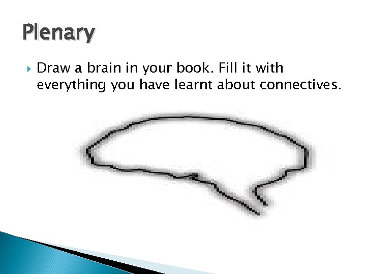 Plenary Draw a brain in your book. Fill it with everything you have learnt