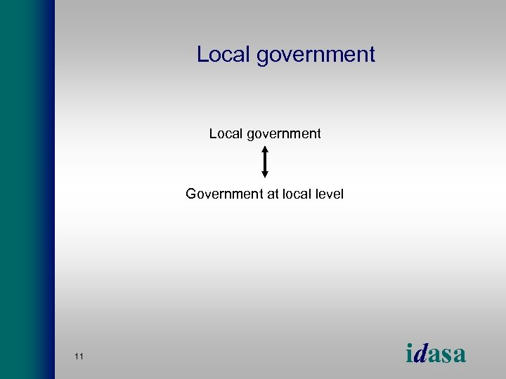 Local government Government at local level 11 idasa
