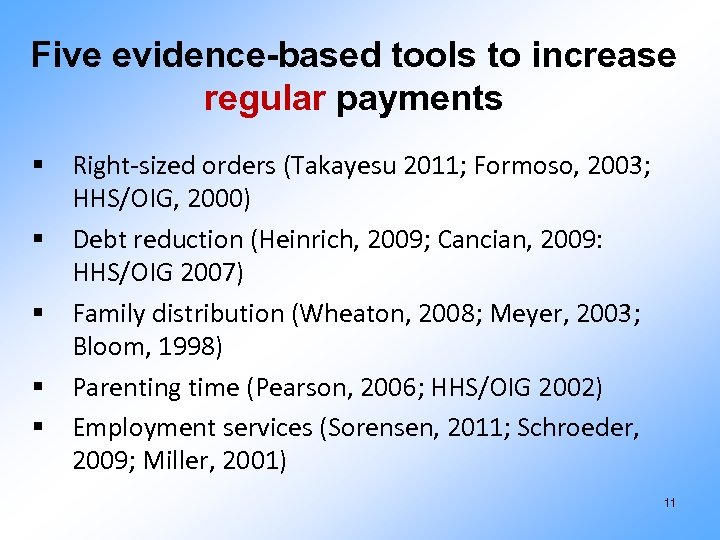 Five evidence-based tools to increase regular payments § Right-sized orders (Takayesu 2011; Formoso, 2003;