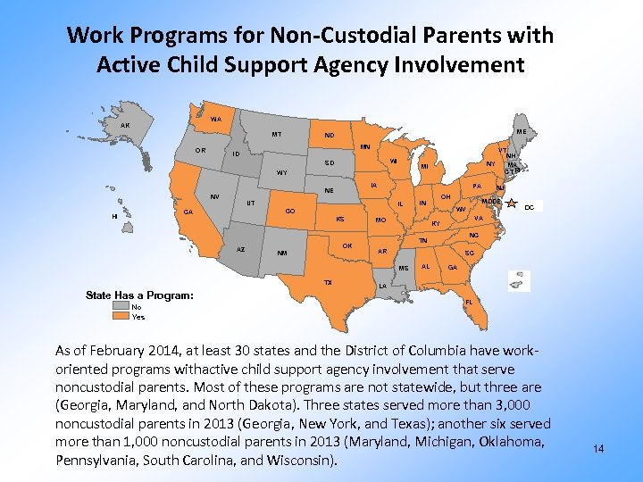 Work Programs for Non-Custodial Parents with Active Child Support Agency Involvement WA AK MT