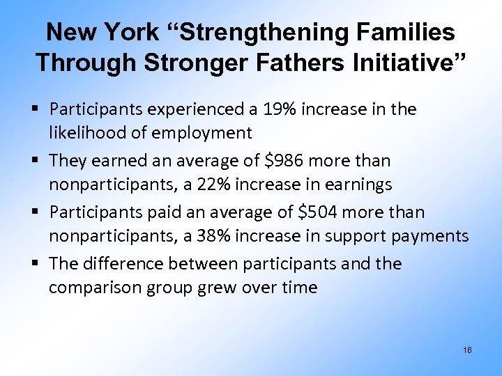 """New York """"Strengthening Families Through Stronger Fathers Initiative"""" § Participants experienced a 19% increase"""