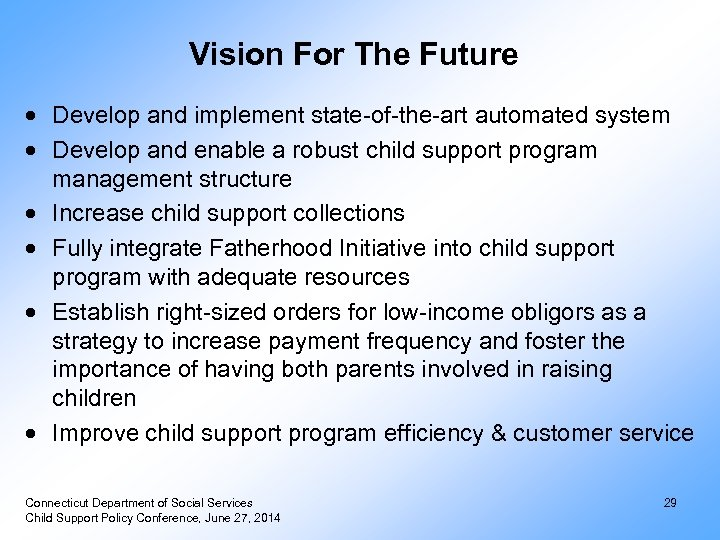 Vision For The Future Develop and implement state-of-the-art automated system Develop and enable a