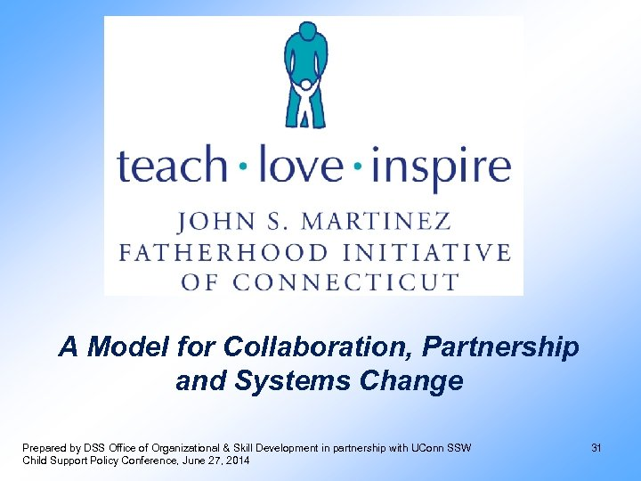 A Model for Collaboration, Partnership and Systems Change Prepared by DSS Office of Organizational