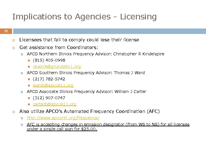 Implications to Agencies - Licensing 23 Licensees that fail to comply could lose their
