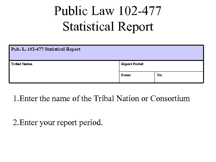 Public Law 102 -477 Statistical Report Pub. L. 102 -477 Statistical Report Tribal Nation