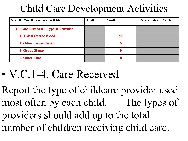 Child Care Development Activities V. Child Care Development Activities Adult Youth Cash Assistance Recipients