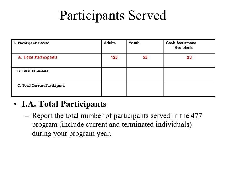 Participants Served I. Participants Served Adults A. Total Participants 125 Youth Cash Assistance Recipients