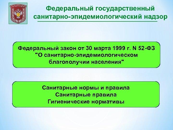 Федеральный государственный санитарно-эпидемиологический надзор Федеральный закон от 30 марта 1999 г. N 52 -ФЗ