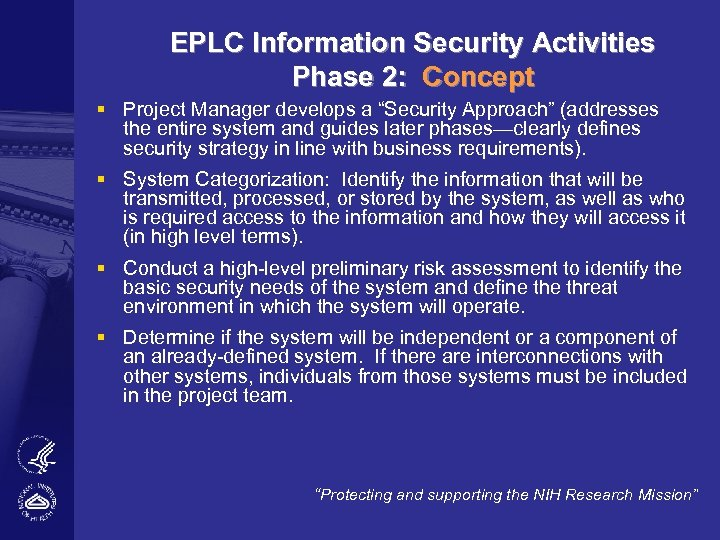 """EPLC Information Security Activities Phase 2: Concept § Project Manager develops a """"Security Approach"""""""