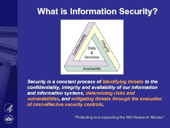 What is Information Security? Security is a constant process of identifying threats to the