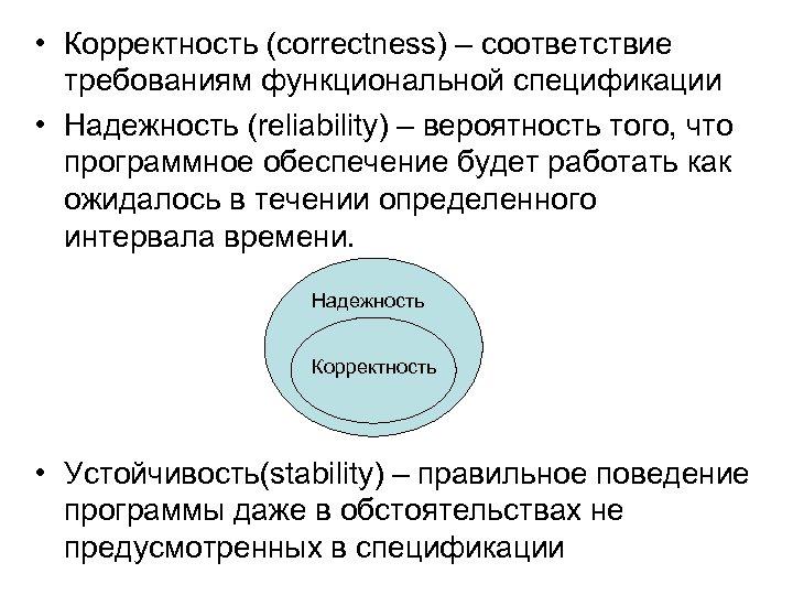 • Корректность (correctness) – соответствие требованиям функциональной спецификации • Надежность (reliability) – вероятность