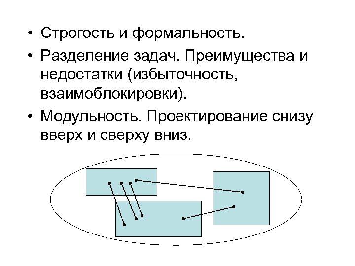 • Строгость и формальность. • Разделение задач. Преимущества и недостатки (избыточность, взаимоблокировки). •