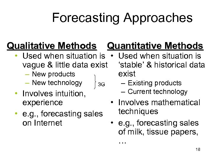 Forecasting Approaches Qualitative Methods Quantitative Methods • Used when situation is vague & little
