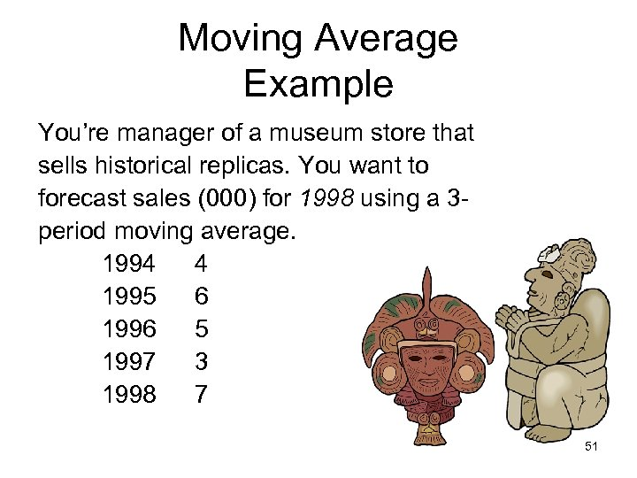 Moving Average Example You're manager of a museum store that sells historical replicas. You
