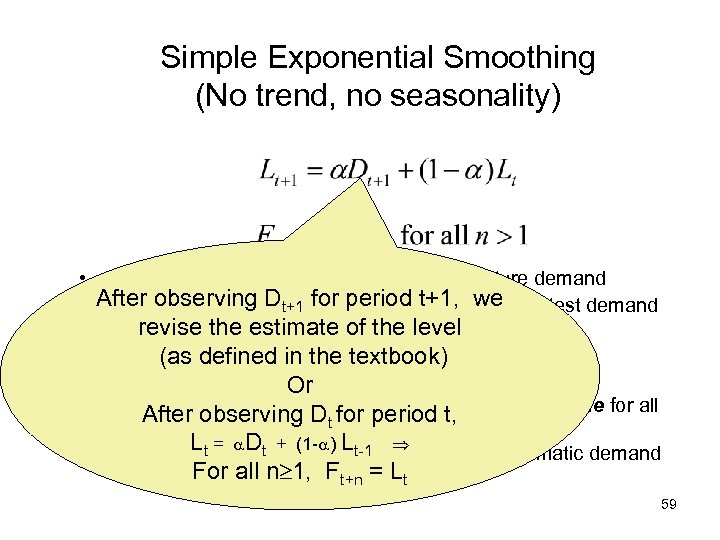 Simple Exponential Smoothing (No trend, no seasonality) • Rationale: recent past more indicative of