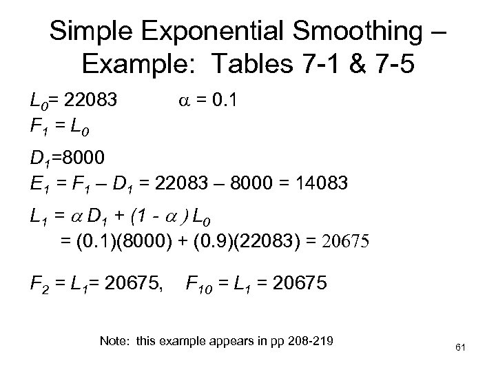 Simple Exponential Smoothing – Example: Tables 7 -1 & 7 -5 L 0= 22083