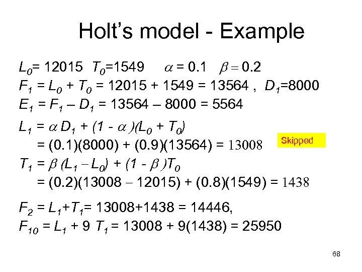 Holt's model - Example L 0= 12015 T 0=1549 a = 0. 1 b