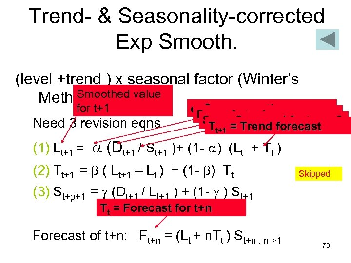 Trend- & Seasonality-corrected Exp Smooth. (level +trend ) x seasonal factor (Winter's Smoothed value