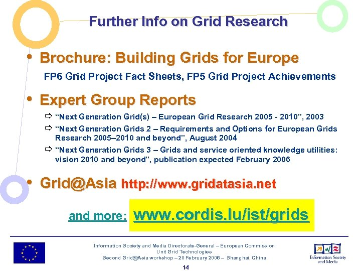 Further Info on Grid Research • Brochure: Building Grids for Europe FP 6 Grid
