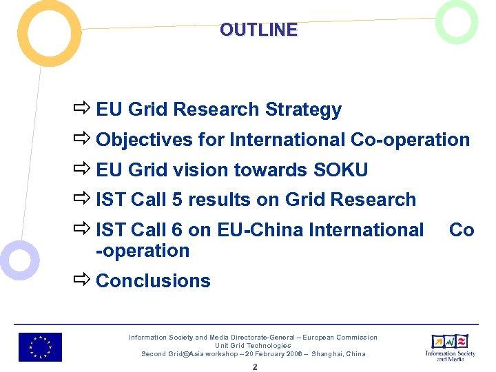 OUTLINE ð EU Grid Research Strategy ð Objectives for International Co-operation ð EU Grid