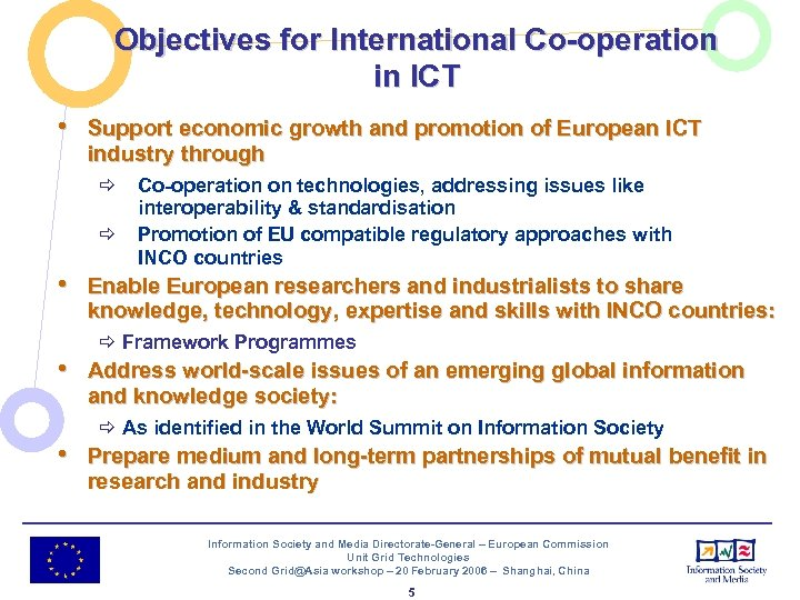 Objectives for International Co-operation in ICT • Support economic growth and promotion of European