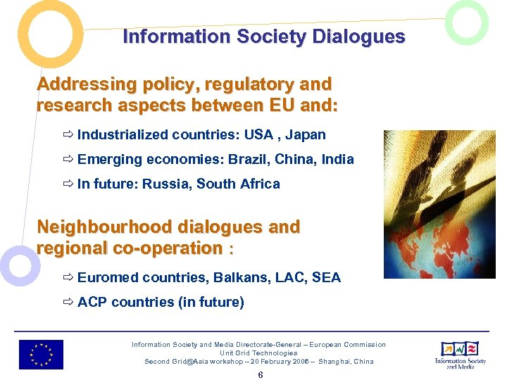 Information Society Dialogues Addressing policy, regulatory and research aspects between EU and: ð Industrialized
