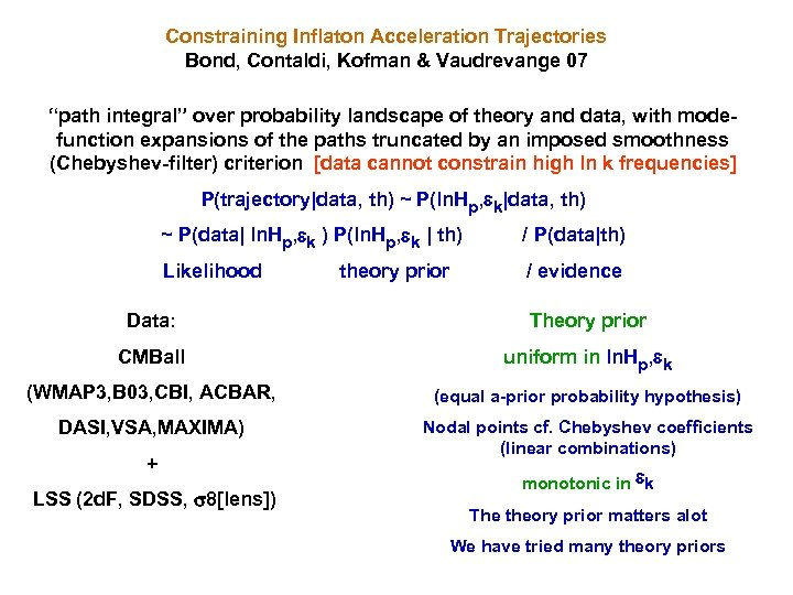 "Constraining Inflaton Acceleration Trajectories Bond, Contaldi, Kofman & Vaudrevange 07 ""path integral"" over probability"
