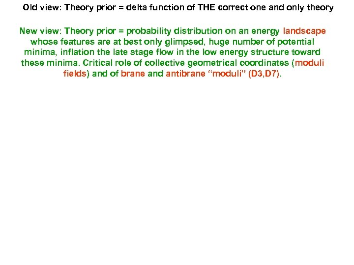 Old view: Theory prior = delta function of THE correct one and only theory
