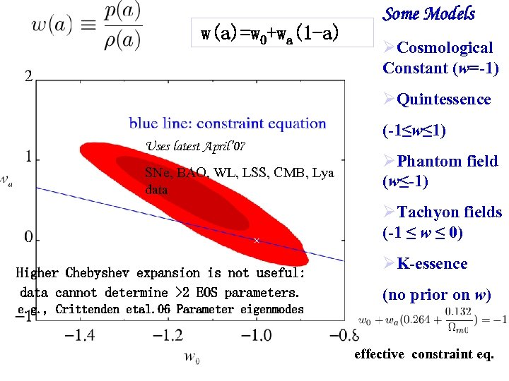 w(a)=w 0+wa(1 -a) Some Models Cosmological Constant (w=-1) Quintessence (-1≤w≤ 1) Uses latest April'
