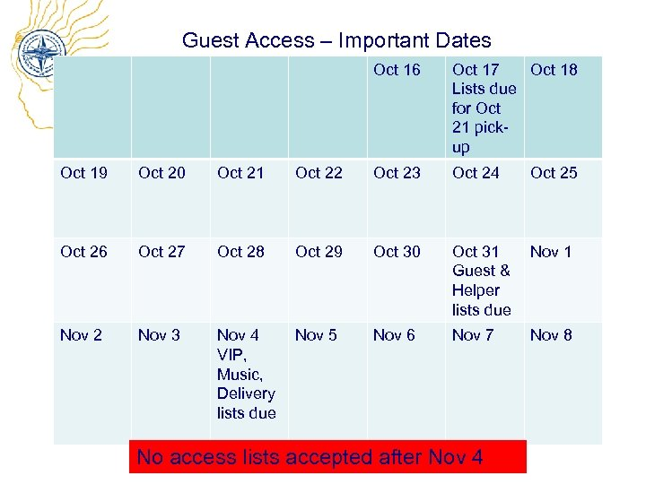 Guest Access – Important Dates Oct 16 Oct 17 Oct 18 Lists due for