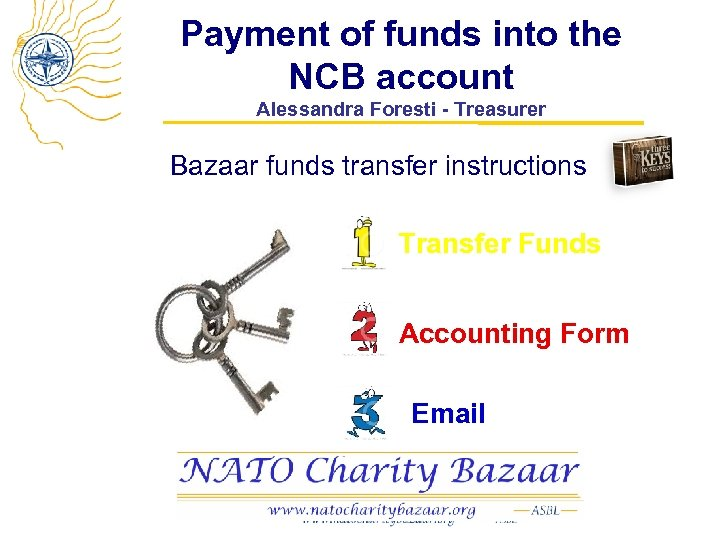 Payment of funds into the NCB account Alessandra Foresti - Treasurer Bazaar funds transfer