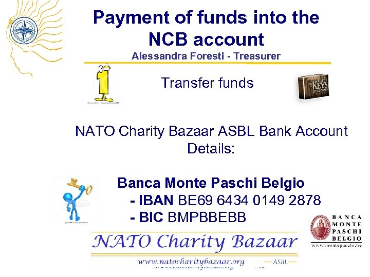 Payment of funds into the NCB account Alessandra Foresti - Treasurer Transfer funds NATO