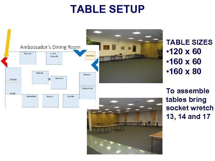 TABLE SETUP TABLE SIZES • 120 x 60 • 160 x 80 To assemble