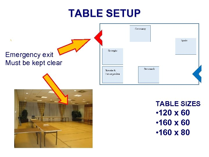 TABLE SETUP Emergency exit Must be kept clear TABLE SIZES • 120 x 60
