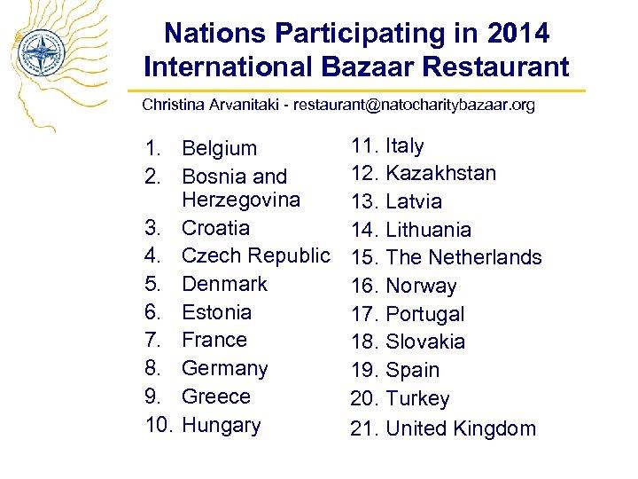 Nations Participating in 2014 International Bazaar Restaurant Christina Arvanitaki - restaurant@natocharitybazaar. org 1. Belgium