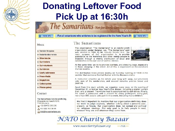 Donating Leftover Food Pick Up at 16: 30 h
